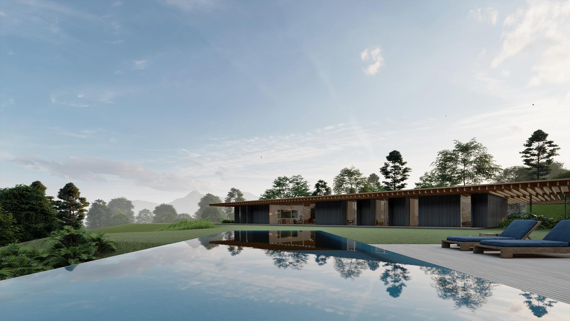 Casa Forte Sabella Arquitetura São Francisco Xavier - vista piscina